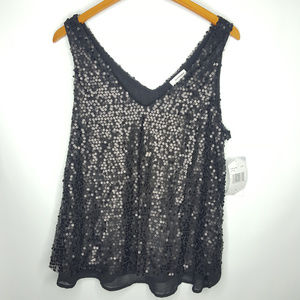 eyeshadow Sequined Black Blouse Sz Large